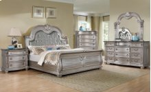 7Pcs Silver Bedroom with Tufted upholstered headboard and Marble tops.