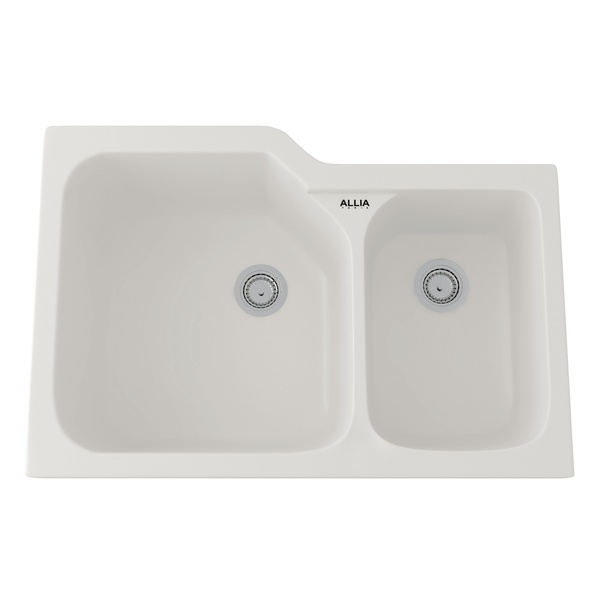 Pergame Biscuit Allia Fireclay 2 Bowl Undermount Kitchen Sink
