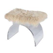 Lucite Arched Stool Base With Natural Mongolian Fur Cushion.