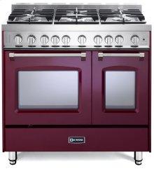 "Burgundy 36"" Gas Double Oven Range - Prestige Series"