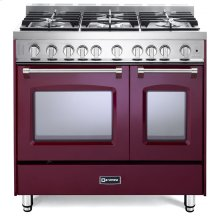 "Burgundy 36"" Gas Double Oven Range - Prestige Series"