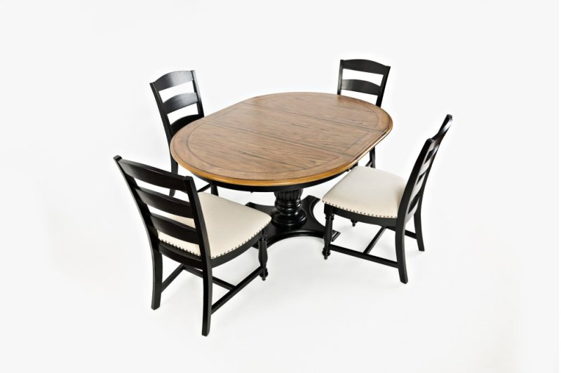 Hidden Additional Castle Hill Round To Oval Dining Table With 4 Ladder Back Chairs