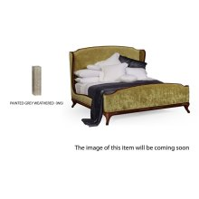 US Queen Louis XV Grey Weathered Bed, Upholstered in Lime Velvet