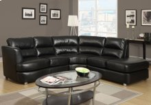 SOFA SECTIONAL - BLACK BONDED LEATHER