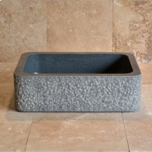 Farmhouse Sink With Chiseled Apron, 8 Inch Depth Blue Gray Granite