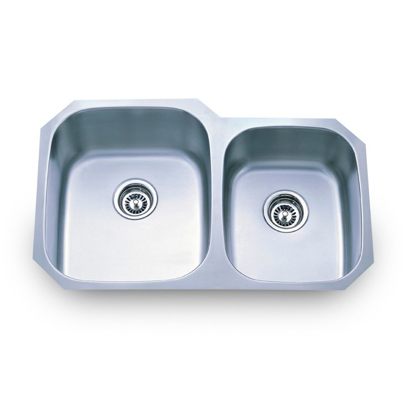 304 stainless steel  16 gauge  undermount kitchen sink with two unequal bowls no hidden 801l in by hardware resources in scottsdale az   304 stainless      rh   eliteknobs com