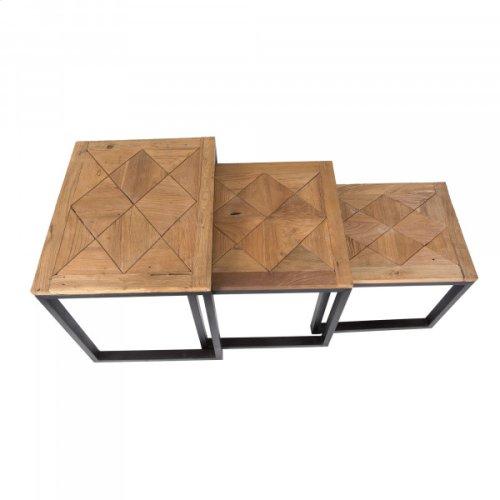3 PC Reclaimed Teak Nest Table Set