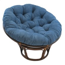 Bali 42-inch Rattan Papasan Chair with Microsuede Fabric Cushion - Walnut/Indigo