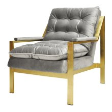 Gold Leaf Arm Chair W. Grey Velvet Cushions Seat Height 20""