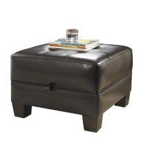 Square Storage Ottoman Bradford Brown Synthetic Leather