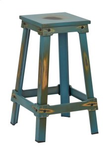 """New Castle 26"""" Antique Turquoise Metal Barstool, Kd"""