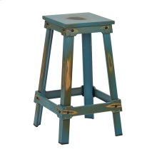 "New Castle 26"" Antique Turquoise Metal Barstool, Kd"