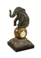 VERDIGRIS BRASS ELEPHANT TABLE TOP CLOCK Product Image