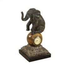VERDIGRIS BRASS ELEPHANT TABLE TOP CLOCK