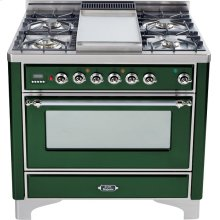 Emerald Green with Chrome trim - Majestic 36-inch Range with Griddle