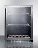 Built-in Undercounter Beverage Refrigerator With Seamless Trimmed Glass Door, Digital Controls, Lock, and Black Cabinet Product Image