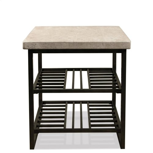 Capri - Side Table - Alabaster Travertine Finish