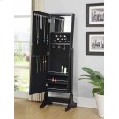 Transitional Black Cheval Mirror and Jewelry Armoire Product Image