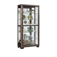 Slide Front 5 Shelf Locking Display Cabinet in Medium Oak Brown Product Image