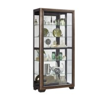 Slide Front 5 Shelf Locking Display Cabinet in Medium Oak Brown