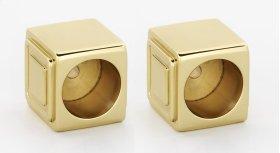Cube Shower Rod Brackets A6546 - Polished Brass