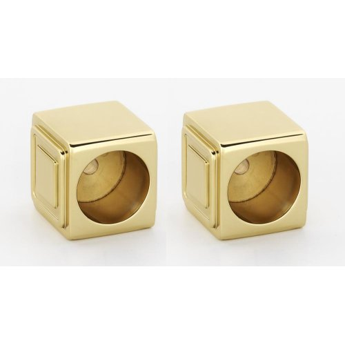 Cube Shower Rod Brackets A6546 - Polished Brass