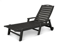 Black Nautical Chaise with Arms & Wheels