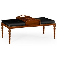 Cocktail Ottoman with Tray Table and Walnut Barleytwist Legs, Upholstered in Black Leather