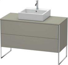 Vanity Unit For Console Floorstanding, Stone Gray Satin Matt Lacquer