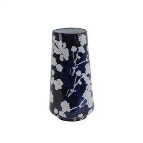 """Ceramic 12.5"""" Floral Vase, Blue"""