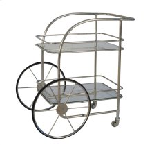 2-tier Silver Metal Bar Cart: Chariot