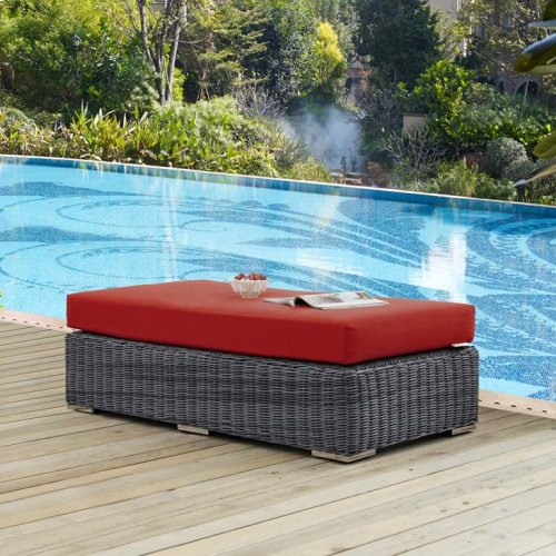 Summon Outdoor Patio Sunbrella® Rectangle Ottoman in Canvas Red