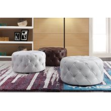 Divani Casa Cote Transitional White Eco-Leather Round Ottoman