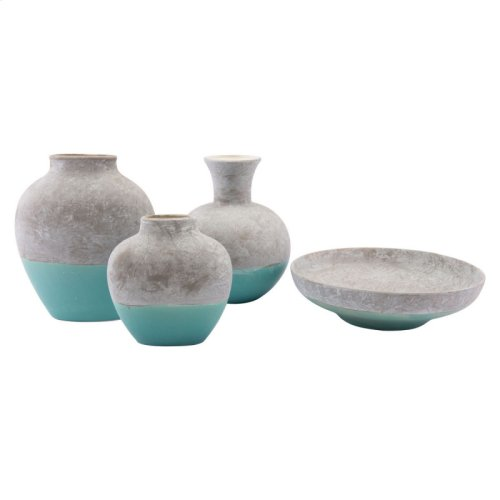 Azte Lg Vase Gray & Teal