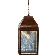 Rustic Lantern with Mercury Glass Pendant. 100W Max. Plug-in with Hard Wire Kit Included.