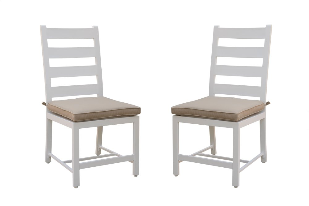 Emerald Home Mountain Side Dining Armless Side Chair White W/spuncrylic  Beige Padded Seat