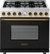 Range DECO 36'' Classic Black dual color, Bronze 6 gas, electric oven, self-clean