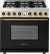 Additional Range DECO 36'' Classic Black dual color, Bronze 6 gas, electric oven, self-clean