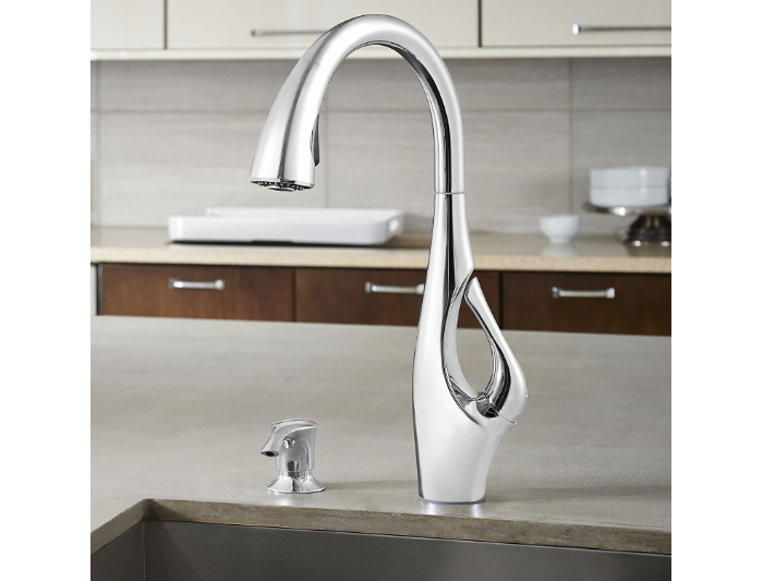 Hidden · Additional Polished Chrome Indira 1 Handle, Pull Down Kitchen  Faucet