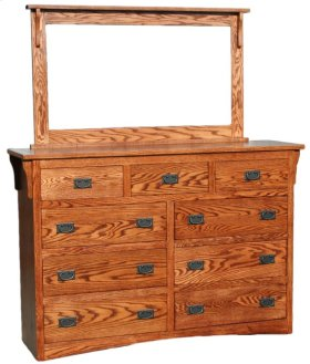 Mission OAK 9 Drawer Dresser & Mirror