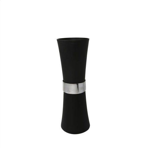 """17"""" Aluminum Vase With Silver Band, Black"""