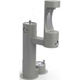 Elkay Outdoor EZH2O Bottle Filling Station Bi-Level, Pedestal with Pet Station Non-Filtered Non-Refrigerated Gray