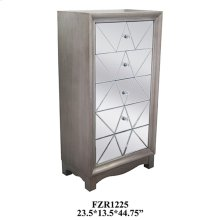 Park Ave Pewter 5 Drawer Pattern Cut Mirrored Chest