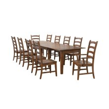 DLU-BR134-AM11PC  11 Piece Rectangular Extendable Table Dining Set  Amish Brown