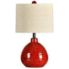 Accent Apple Red Ceramic Table Lamp with Natural Linen Hardback Shade