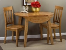 Simplicity Honey Drop Leaf Table With Two Slat Back Dining Chairs