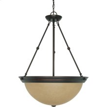 3-Light Large Hanging Pendant Light Fixture in Mahogany Bronze Finish with Champagne Linen Glass