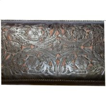 """Brown : 45"""" x 19"""" x 20"""" Tooled Leather Bench"""