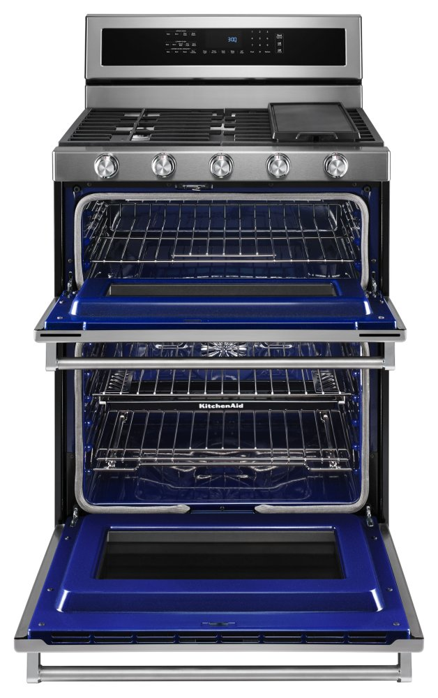 kfdd500esskitchenaid 30 inch 5 burner dual fuel double oven rh snowappliance com