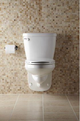 """White Maxwell® 1.28 Gpf 4"""" Vertical Rough-in Two-piece Wall Hung Back Outlet Compact Elongated Toilet"""